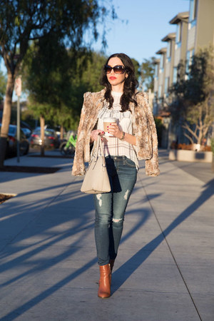 white storets blouse - brown calvin klein boots - camel Alice and Olivia jacket
