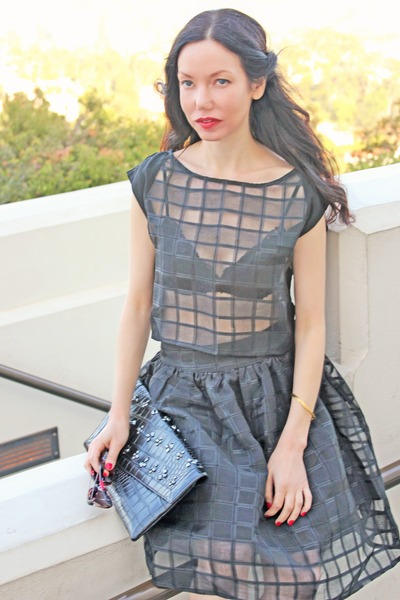 black Pixie Market top - black BCBG bag - black Pixie Market skirt