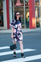 navy Nasty Gal dress - black Chanel bag - black LAMB heels
