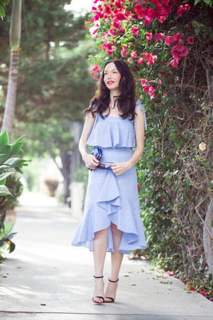 sky blue storets blouse - sky blue storets skirt - black Schutz sandals
