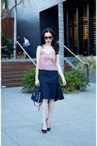 pink Tularosa top - navy Tommy Hilfiger bag - black Zara heels