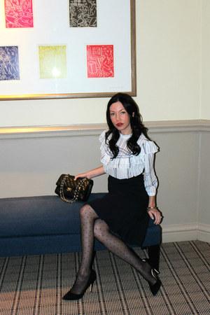 white storets blouse - black Chanel bag - navy Tommy Hilfiger skirt