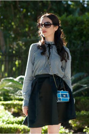 black Zara blouse - blue Love Moschino bag