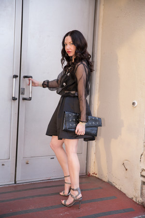 black StyleWe jacket - black BCBG bag - silver Rebecca Minkoff sandals