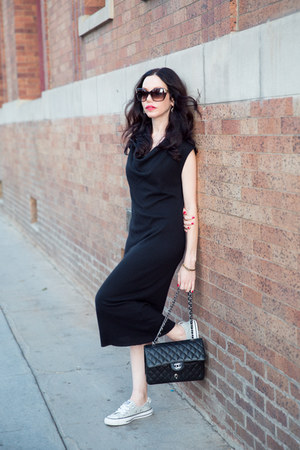 black Helmut Lang dress - black Chanel bag - heather gray Converse sneakers