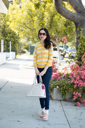 white nicole lee bag - navy J Crew jeans - yellow Juicy Couture sweater