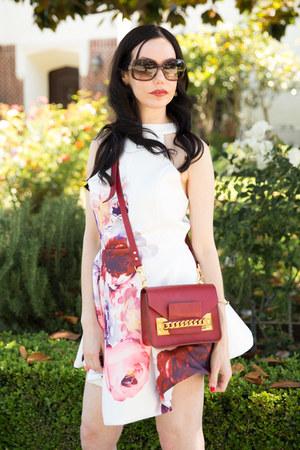 white Sheinside dress - brick red Sophie Hulme bag - brown Gucci sunglasses