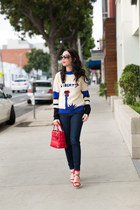 navy Tommy Hilfiger sweater - navy J Crew jeans - ruby red dior bag