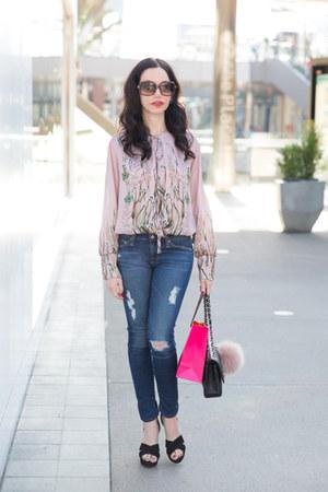 light pink Zara bodysuit - black Chanel bag - black Raye the Label sandals