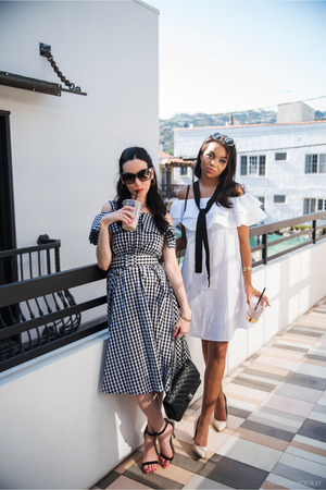 black shein dress - white Pixie Market dress - black Chanel bag