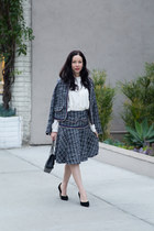 navy storets suit - black Chanel bag - black neiman marcus pumps