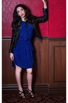 blue Rebecca Taylor dress - black leather jacket Juicy Couture jacket