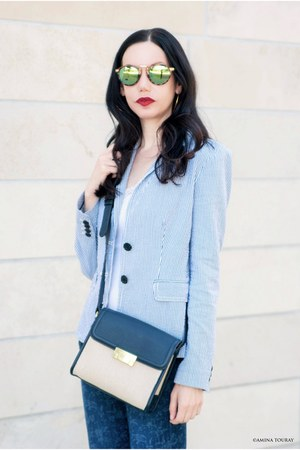 blue AG Adriano Goldschmeid jeans - blue JCrew blazer - blue Tommy Hilfiger bag