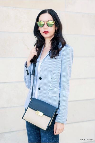 blue AG Adriano Goldschmeid jeans - blue JCrew blazer - blue Tommy Hilfiger bag