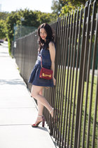 blue dRa top - brick red Sophie Hulme bag - blue dRa skirt