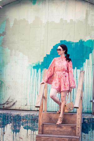 bubble gum Metisu romper - tan Chanel bag - tan Dolce Vita sandals