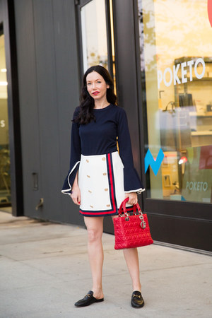 navy storets top - ruby red dior bag - white storets skirt - black Gucci loafers