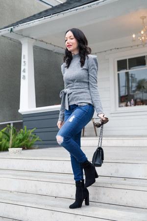 heather gray storets sweater - black Steve Madden boots - black Chanel bag