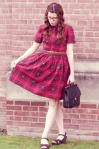 ruby red vintage dress - black vintage Coach bag - black Target wedges