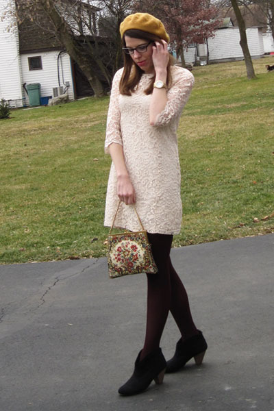 vintage bag - black Target boots - ivory H&M dress - gold modcloth hat