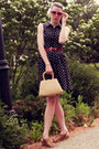 Navy-forever-21-dress-tan-vintage-bag-hot-pink-urban-outfitters-sunglasses
