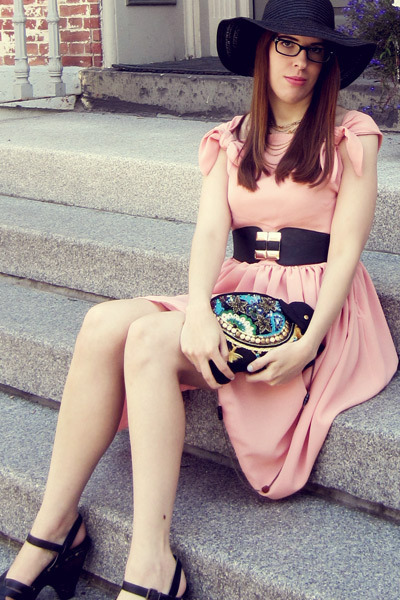 museum gift shop purse - handmade dress - Forever21 hat - Local Boutique belt
