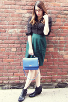 J Crew bag - sam edelman boots - Forever 21 dress - vintage skirt