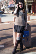 diy sweater - vintage boots - forever 21 dress - jcrew purse - socks