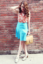 sky blue DIY skirt - camel vintage Coach bag - peach joe fresh style blouse