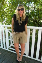Anthropologie shorts - vintage top - EightSixty necklace - Matiko shoes - J Crew