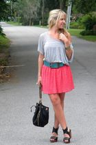 Zara skirt - Hallelu belt - gift earrings - thrift shirt - Zara shoes - Hallelu