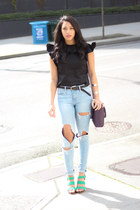 black asos top - light blue H&M jeans - green Dolce Vita heels