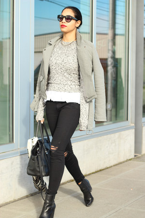 Shop Tobi jacket - Joes Jeans boots - mother jeans - Aritzia sweater
