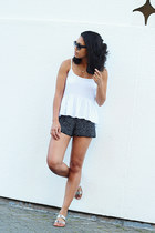 Aritzia shorts - Rowley sunglasses - JCrew sandals - Aritzia blouse