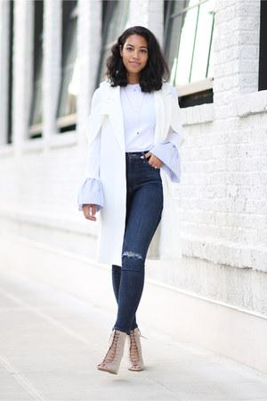 mother jeans - Pixie Market t-shirt - Sheinside vest - Rebecca Minkoff wedges