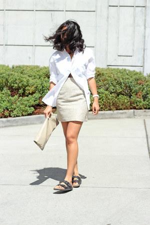 Cambridge shirt - American Apparel bag - vintage skirt - Birkenstock sandals