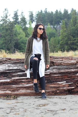 mother jeans - asos shirt - Aritzia cardigan - nike sneakers