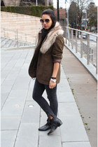 black Dolce Vita boots - dark gray Current Elliott jeans - brown vintage blazer