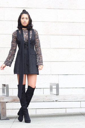 Dolce Vita blouse - Call it Spring boots - Reformation dress - Zara scarf