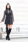 Call-it-spring-boots-reformation-dress-zara-scarf-dolce-vita-blouse
