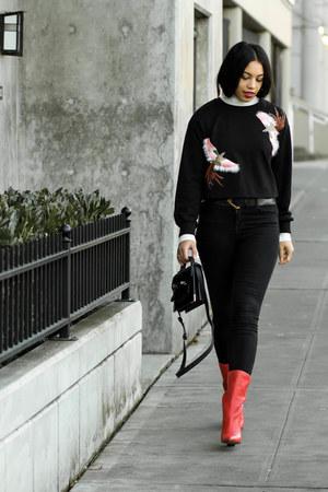 shein sweatshirt - Dolce Vita boots - J Brand jeans - Mackage bag