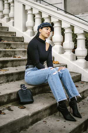 tony bianco boots - Agolde jeans - Eugina Kim hat - The range sweater