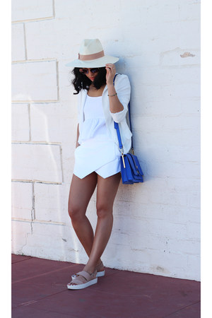 Aritzia skirt - free people hat - Nordstrom blazer - Rebecca Minkoff bag