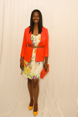 white Old Navy dress - carrot orange Forever 21 blazer - Forever 21 bag
