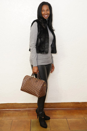 faux fur vintage vest - booties Christian Siriano boots