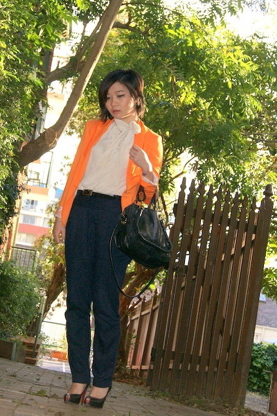 carrot orange Zara blazer - black python Chloe bag - white bardot top