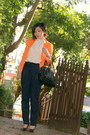 Carrot-orange-zara-blazer-black-python-chloe-bag-white-bardot-top