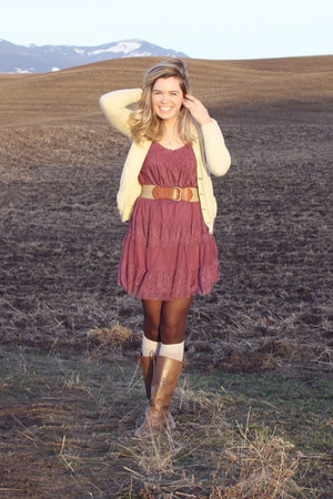 lace dress - boots - cardigan
