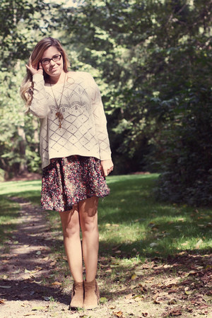 cream sweater - loose chiffon dress