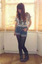 Office boots - Primark tights - vintage Wrangler shorts - NY t-shirt